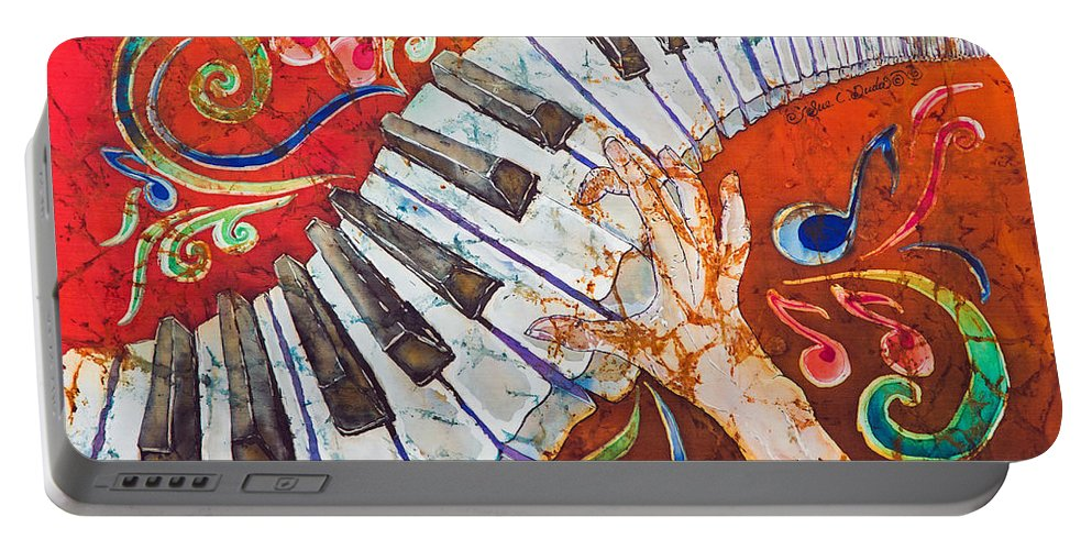 Piano Portable Battery Charger featuring the tapestry - textile Crazy Fingers - Piano Keyboard by Sue Duda