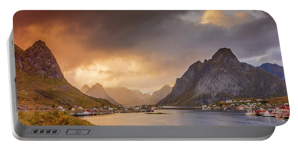 Sunset Portable Battery Charger featuring the photograph Crazy Sunset In Lofoten by Alex Conu