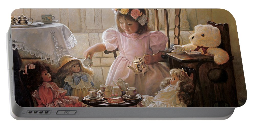 Girl Portable Battery Charger featuring the painting Cream and Sugar by Greg Olsen