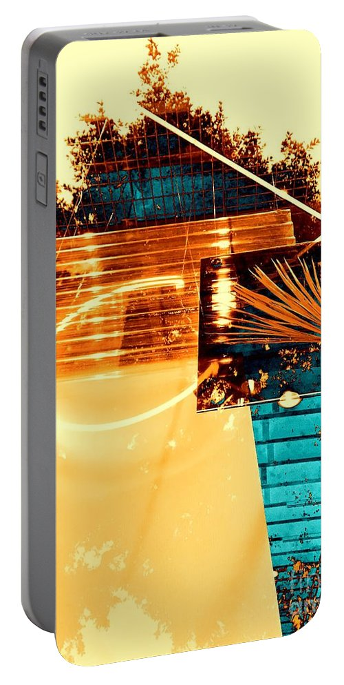 Abstract Portable Battery Charger featuring the photograph Cream Reflections by Jenny Revitz Soper