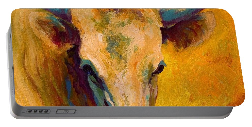 Longhorn Portable Battery Charger featuring the painting Creamy Texan - Longhorn by Marion Rose