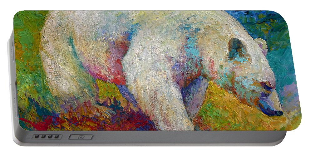 Western Portable Battery Charger featuring the painting Creamy Vanilla - Kermode Spirit Bear Of Bc by Marion Rose