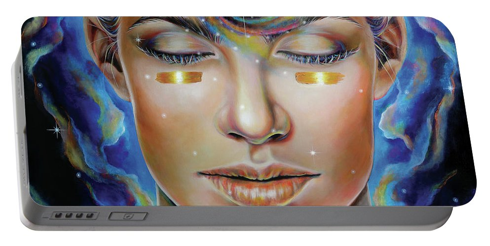 Third Eye Portable Battery Charger featuring the painting Creatrix by Robyn Chance