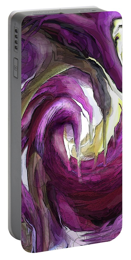 Abstract Portable Battery Charger featuring the digital art Creeping Purple by Ian MacDonald