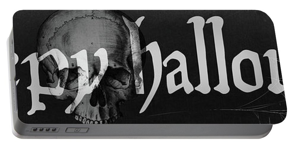 Halloween Portable Battery Charger featuring the painting Creepy Halloween by Mindy Sommers