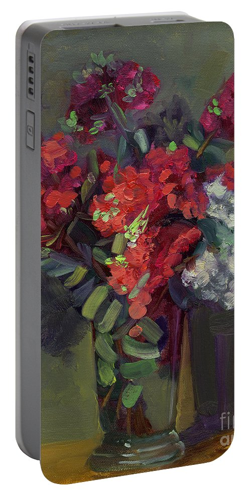 Floral Portable Battery Charger featuring the painting Crepe Myrtles In Glass by Lilibeth Andre