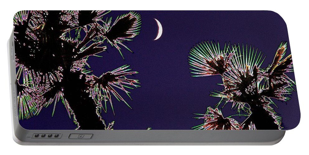 Moon Portable Battery Charger featuring the photograph Crescent And Palms by Tim Allen