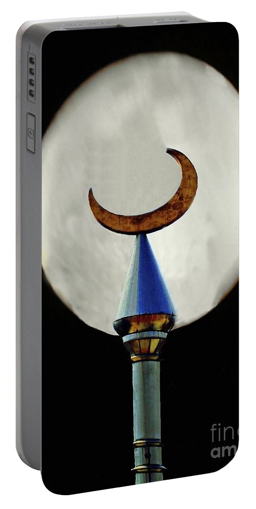 Crescent Portable Battery Charger featuring the photograph Crescent Full Moon by Jost Houk