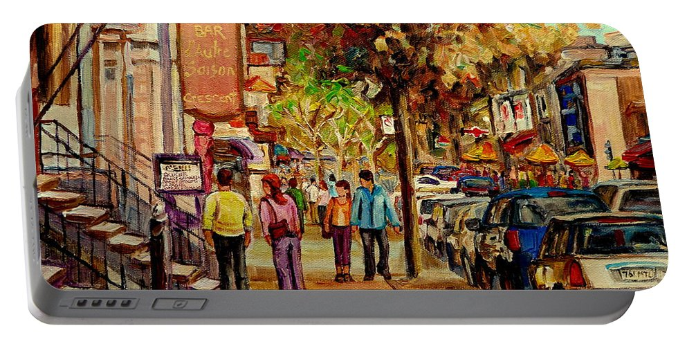 Montreal Streetscenes Portable Battery Charger featuring the painting Crescent Street Montreal by Carole Spandau