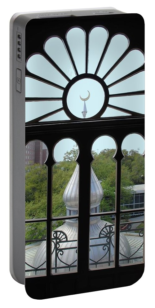 University Of Tampa Portable Battery Charger featuring the photograph Crescent Window by Jost Houk