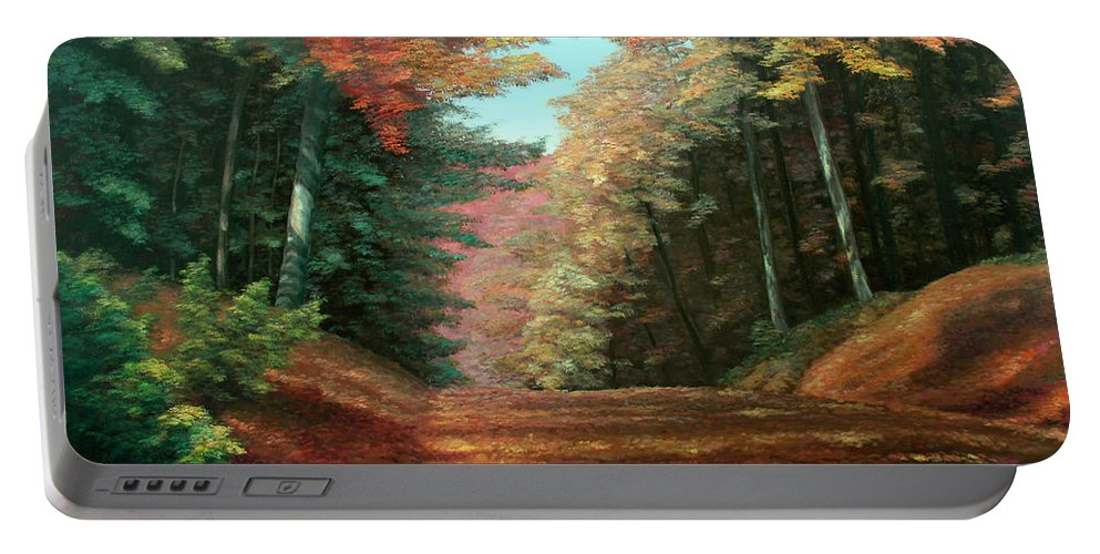 Autumn Woods Portable Battery Charger featuring the painting Cressman's Woods by Hanne Lore Koehler
