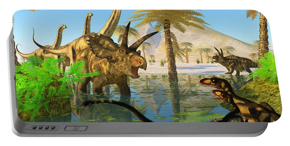 Coahuilaceratops Portable Battery Charger featuring the painting Cretaceous Swamp by Corey Ford