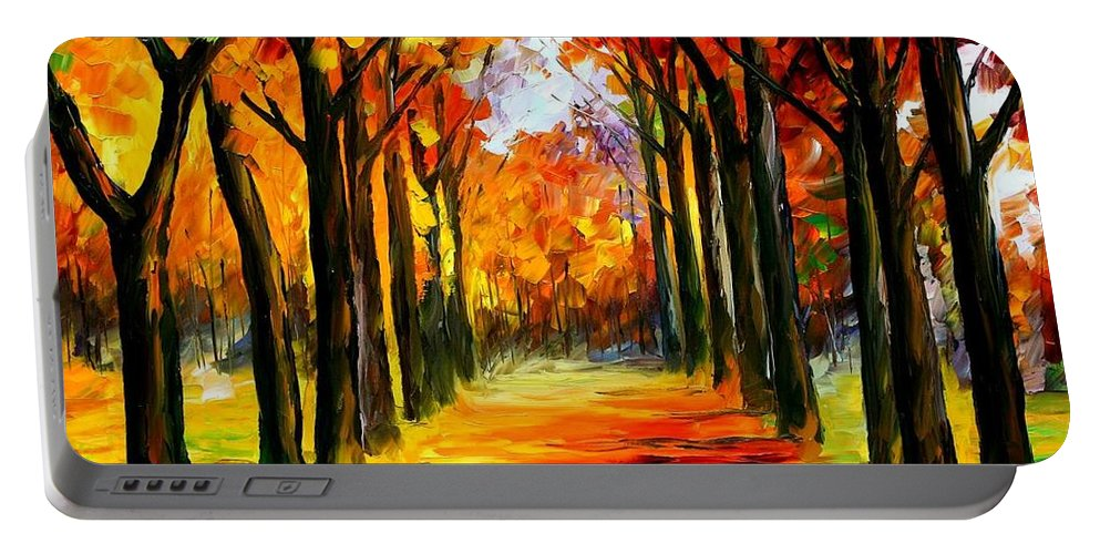 Afremov Portable Battery Charger featuring the painting Crimson Alley by Leonid Afremov