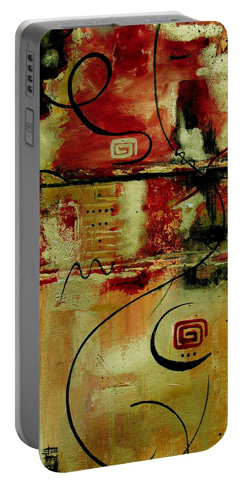 Abstract Portable Battery Charger featuring the painting Crimson And Copper by Ruth Palmer