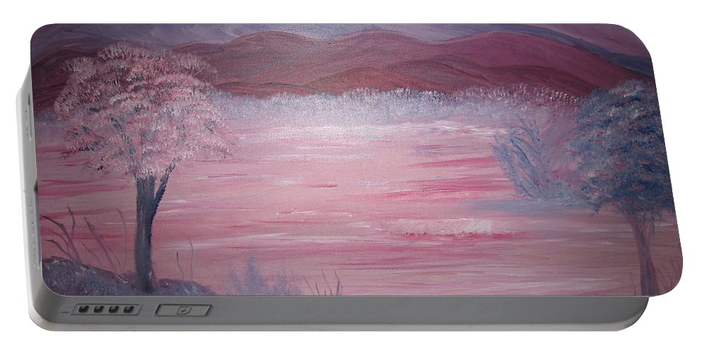 Landscape Portable Battery Charger featuring the painting Crimson Shores by Michael Messina
