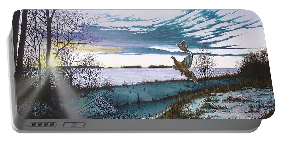 Winter Portable Battery Charger featuring the painting Crisp Winter Light by Anthony J Padgett