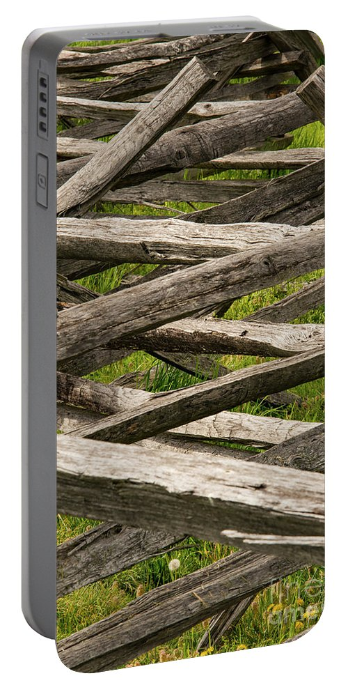Antietam National Battlefield Maryland Wood Fence Wooden Fences Odds And Ends Portable Battery Charger featuring the photograph Criss Cross by Bob Phillips