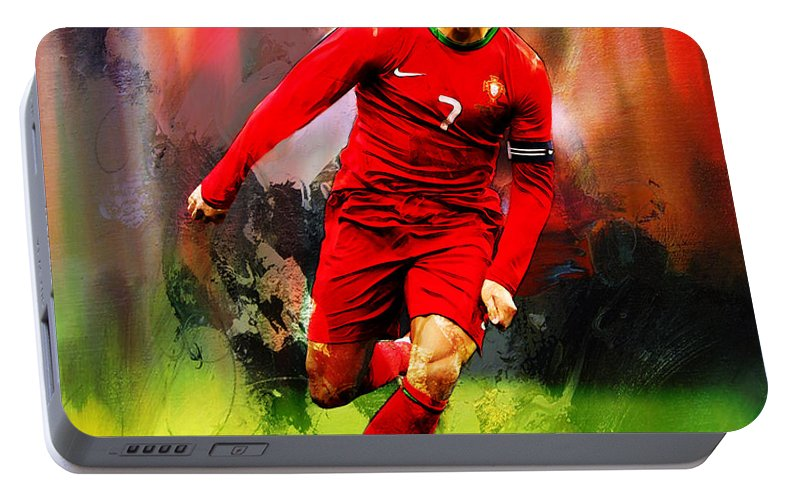 Cristiano Ronaldo Portable Battery Charger featuring the painting Cristiano Ronaldo 08a by Gull G