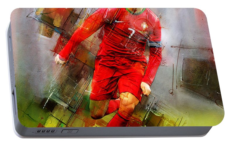 Cristiano Ronaldo Portable Battery Charger featuring the painting Cristiano Ronaldo by Gull G