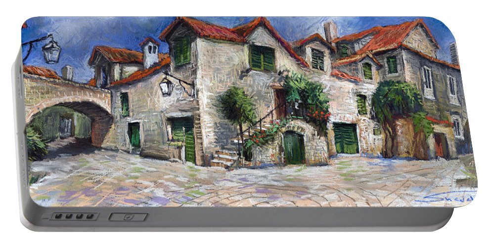 Pastel On Paper Portable Battery Charger featuring the painting Croatia Dalmacia Square by Yuriy Shevchuk