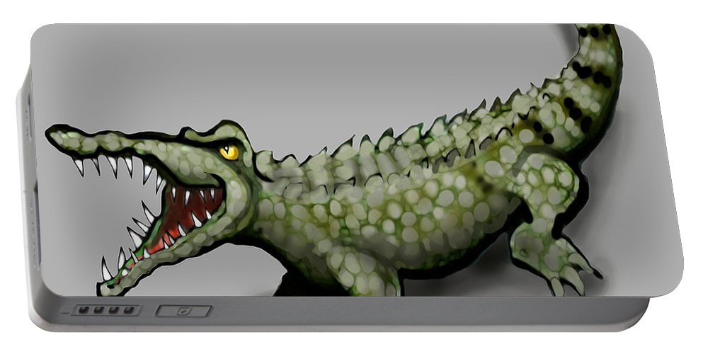 Crocodile Portable Battery Charger featuring the greeting card Crocodile by Kevin Middleton
