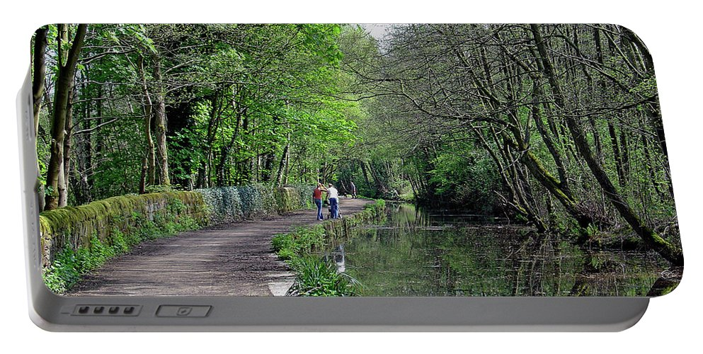 Europe Portable Battery Charger featuring the photograph Cromford Canal - Tree Lined Walk by Rod Johnson