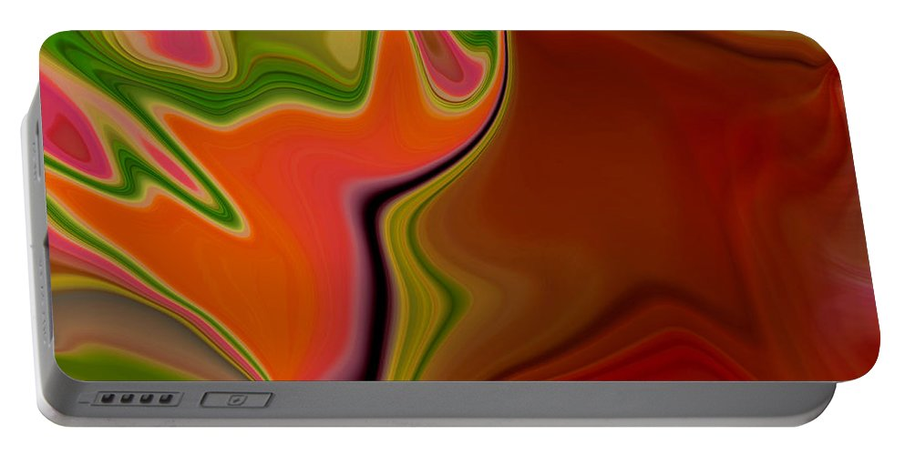 Abstract Portable Battery Charger featuring the digital art Crooked Billed Bird by Ruth Palmer