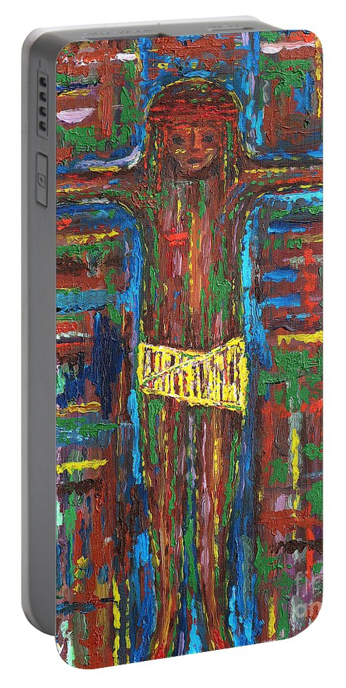 Easter Portable Battery Charger featuring the painting Cross 3 by Patrick J Murphy