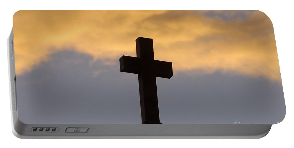 Cross Portable Battery Charger featuring the photograph Cross And Sky by David Lee Thompson