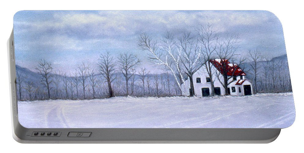 Karen Zuk Rosenblatt Art And Photography Portable Battery Charger featuring the painting Cross Country by Karen Zuk Rosenblatt