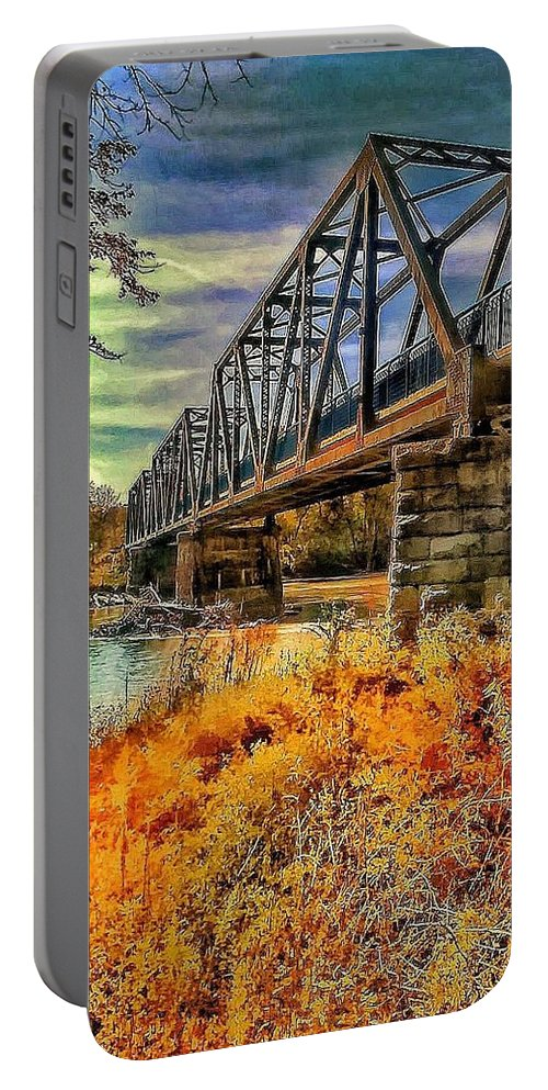 Wabash Bridge Portable Battery Charger featuring the photograph Crossover by Denny Lyons