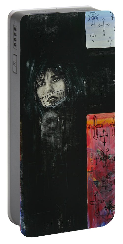 Cross Portable Battery Charger featuring the painting Crossroad by Yelena Tylkina