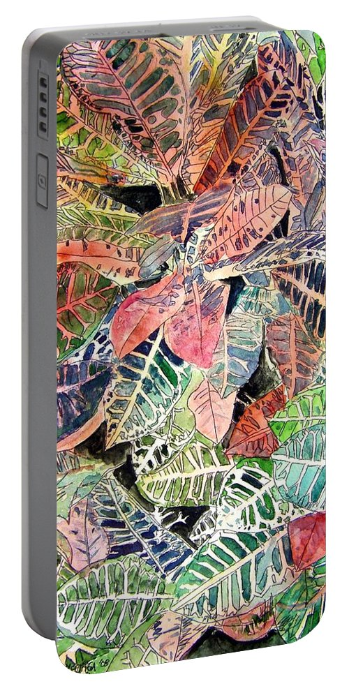 Croton Portable Battery Charger featuring the painting Croton Tropical Art Print by Derek Mccrea