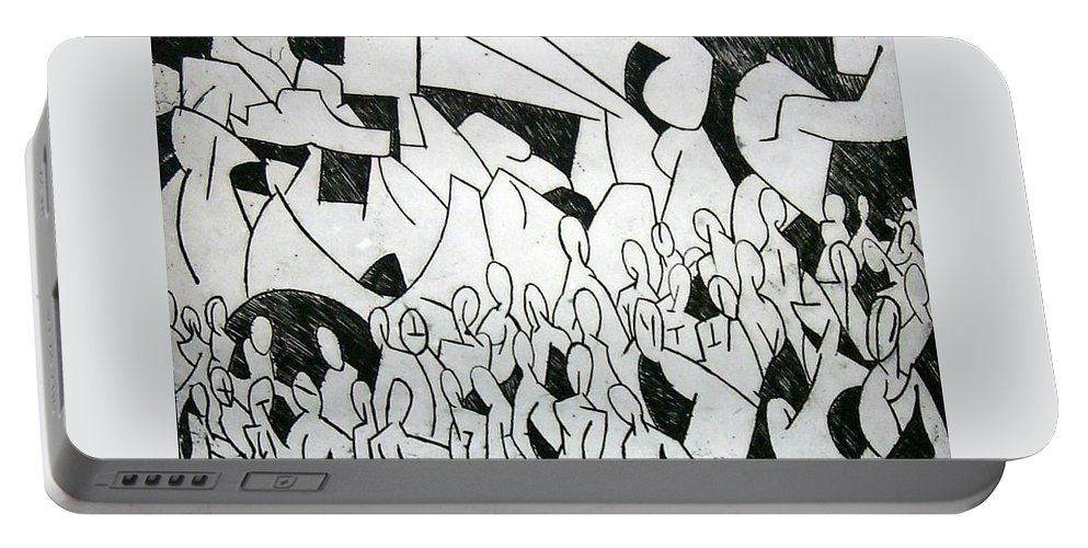 Etching Portable Battery Charger featuring the print Crowd by Thomas Valentine