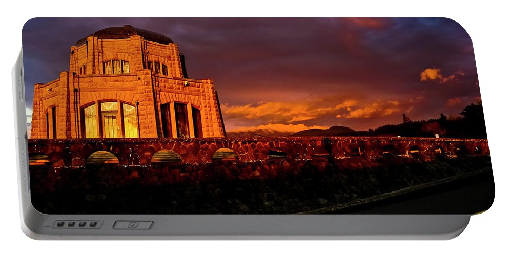 Vista House Portable Battery Charger featuring the photograph Crown Point At Sunset by Albert Seger