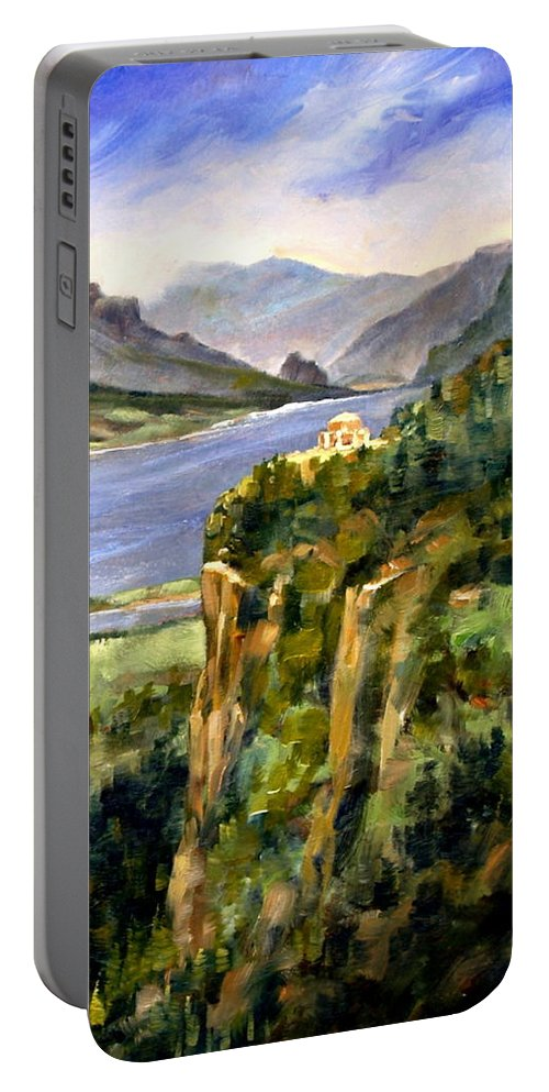 16 X 12 Portable Battery Charger featuring the painting Crown Point Oregon by Jim Gola