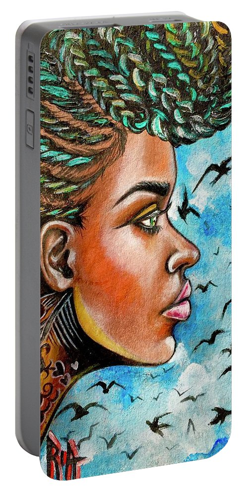 Ria Portable Battery Charger featuring the painting Crowned Royal by Artist RiA