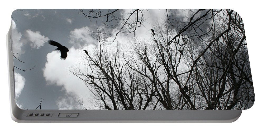 Crows Portable Battery Charger featuring the photograph Crows In Cottonwoods by Ric Bascobert