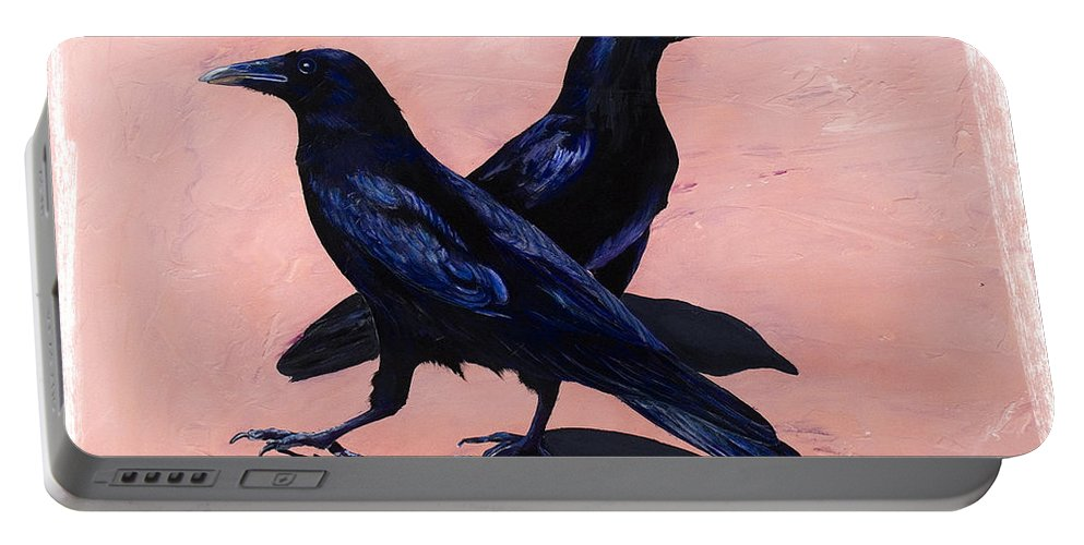 Crows Portable Battery Charger featuring the painting Crows by Sandi Baker