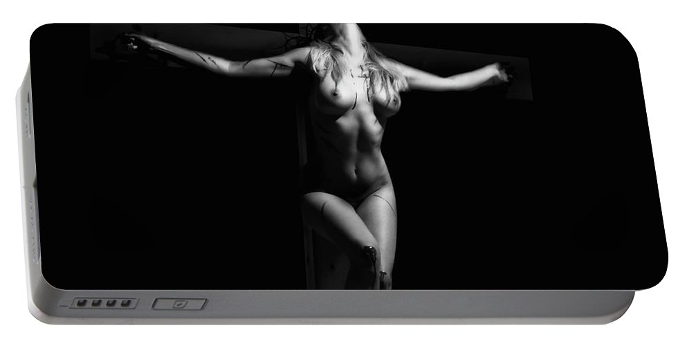Crucified Portable Battery Charger featuring the photograph Crucified Woman by Ramon Martinez