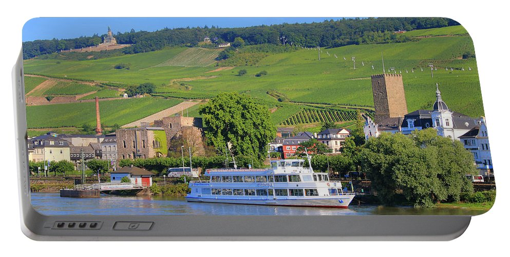 Boat Portable Battery Charger featuring the photograph Cruise Boat, Rudesheim, Germany by Fran West