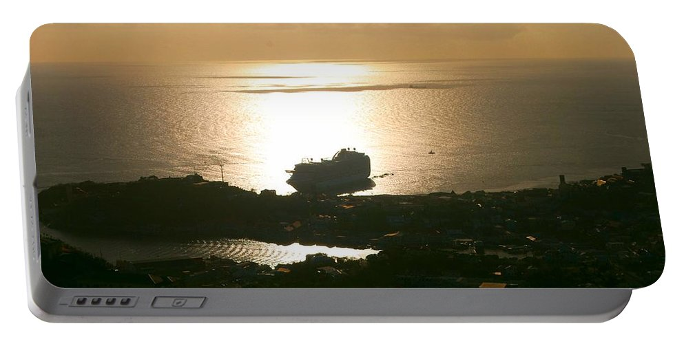 Cruise Ship Portable Battery Charger featuring the photograph Cruise Ship At Sunset by Gary Wonning