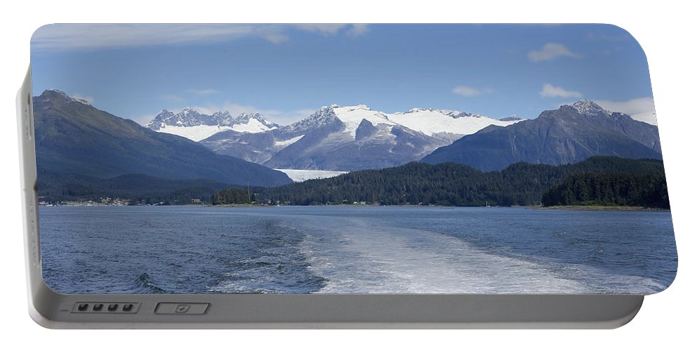 Cruise Ship Mountains Portable Battery Charger featuring the photograph Cruise Ship Mountains by Richard J Cassato