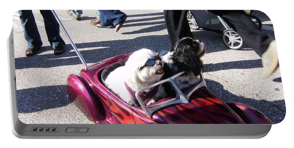 Dogs Driving Portable Battery Charger featuring the photograph Cruisin' by Jeanne Russell
