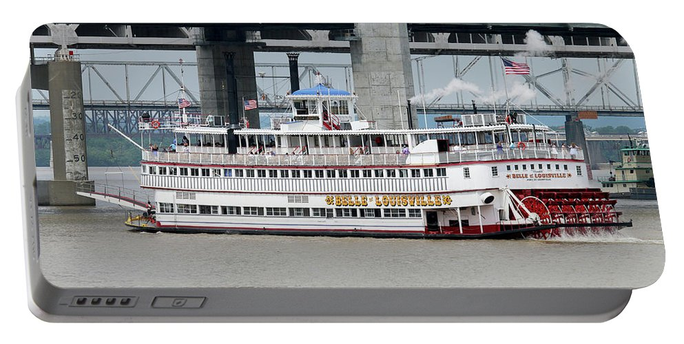 Belle Of Louisville Portable Battery Charger featuring the photograph Cruising The Ohio River by Art Block Collections