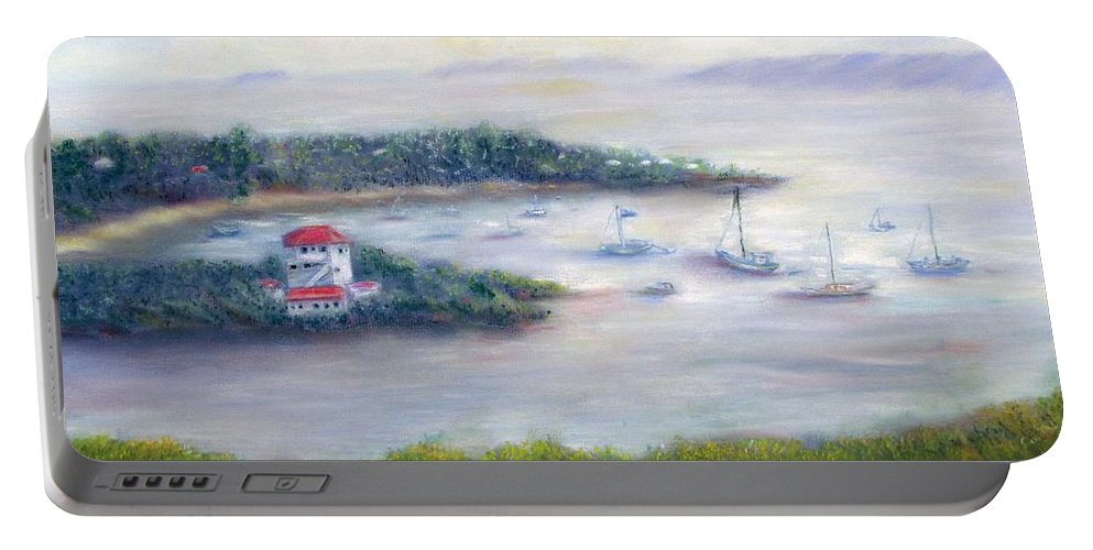 Cruz Bay Portable Battery Charger featuring the painting Cruz Bay Remembered by Loretta Luglio