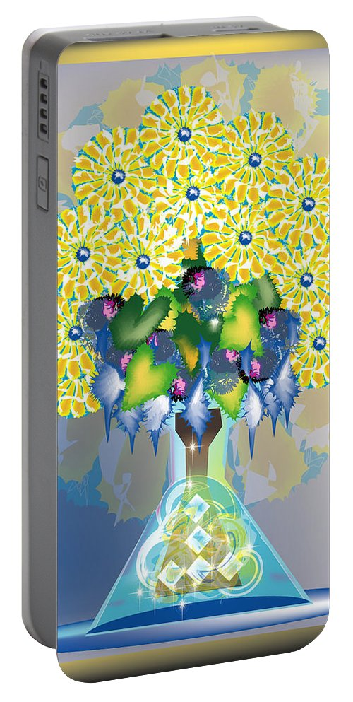 Flowers Portable Battery Charger featuring the digital art Crystal Boquet by George Pasini