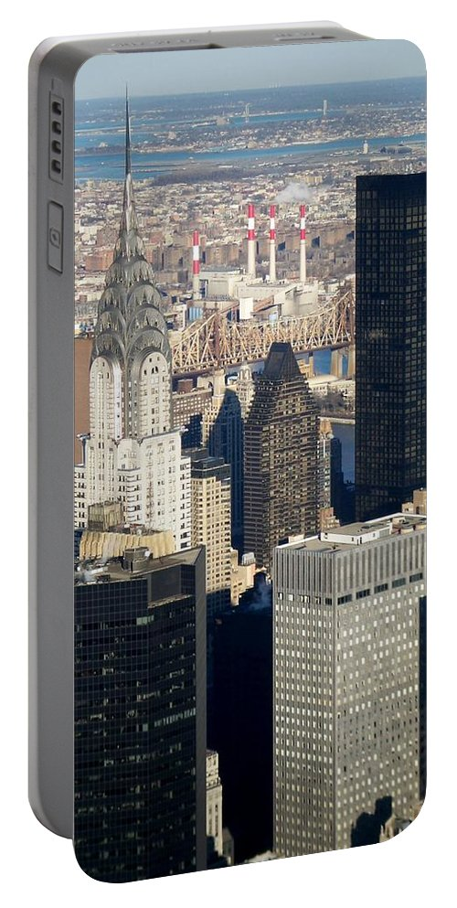 Crystler Building Portable Battery Charger featuring the photograph Crystler Building by Anita Burgermeister