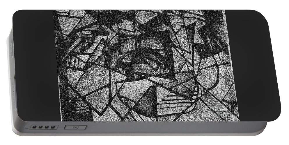 Abstract Portable Battery Charger featuring the mixed media C''s 1942 by Kisha Taylor