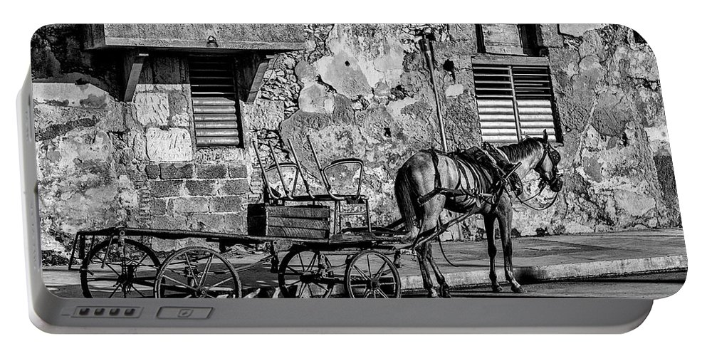 Cuban Horse Power; Cuban; Horse; Power; Horse And Carriage; Carriage; Hp; Cuba; Photography & Digital Art; Photography; Photo; Photo Art; Art; Digital Art; 2bhappy4ever; 2bhappy4ever.com; 2bhappy4evercom; Tobehappyforever; Portable Battery Charger featuring the photograph Cuban Horse Power BW by Erron